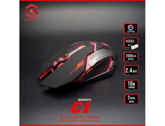 Cyborg Mouse Wireless 6D C1 (War Knights) Dual Mode, Rechargeable with Backlights
