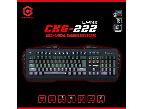Cyborg CKG-222 Linx Gaming Keyboard USB Mechanical Full Size