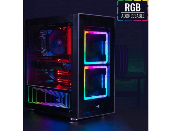 Aerocool TOR - Gaming Case ATX Tempered Glass - With 2 RGB Fans 140mm