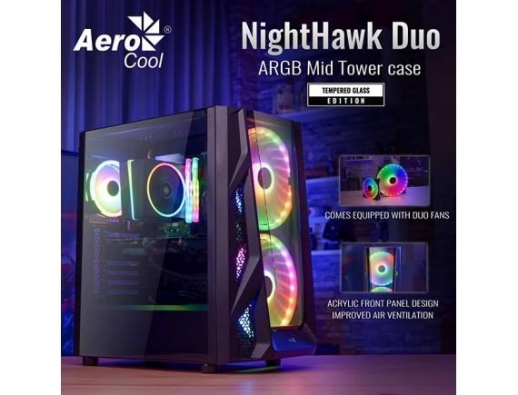 Aerocool NightHawk Duo ARGB Tempered Glass Mid Tower E-ATX Gaming Case