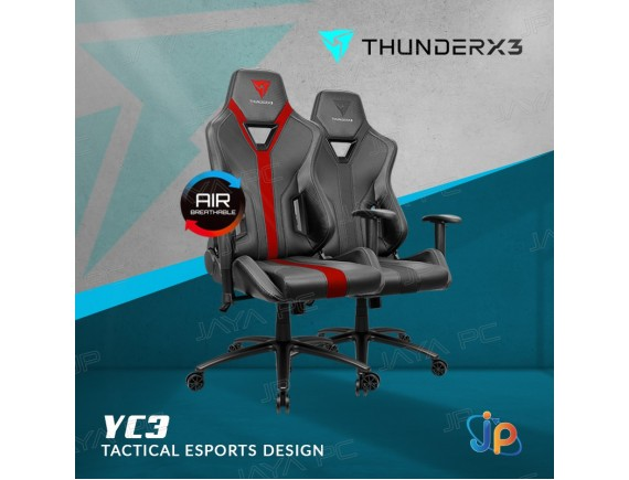 ThunderX3 YC3 Gaming Chair BLACK & BLACK RED