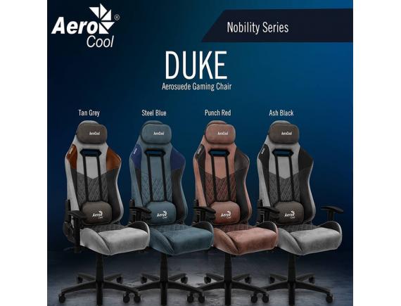 "Gaming Chair Aerocool Duke ""Ash Black Steel Blue Punch Red Tan Grey"""
