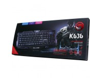 Marvo Keyboard K636 Multimedia, 3 Color Backlight, Anti Ghosting