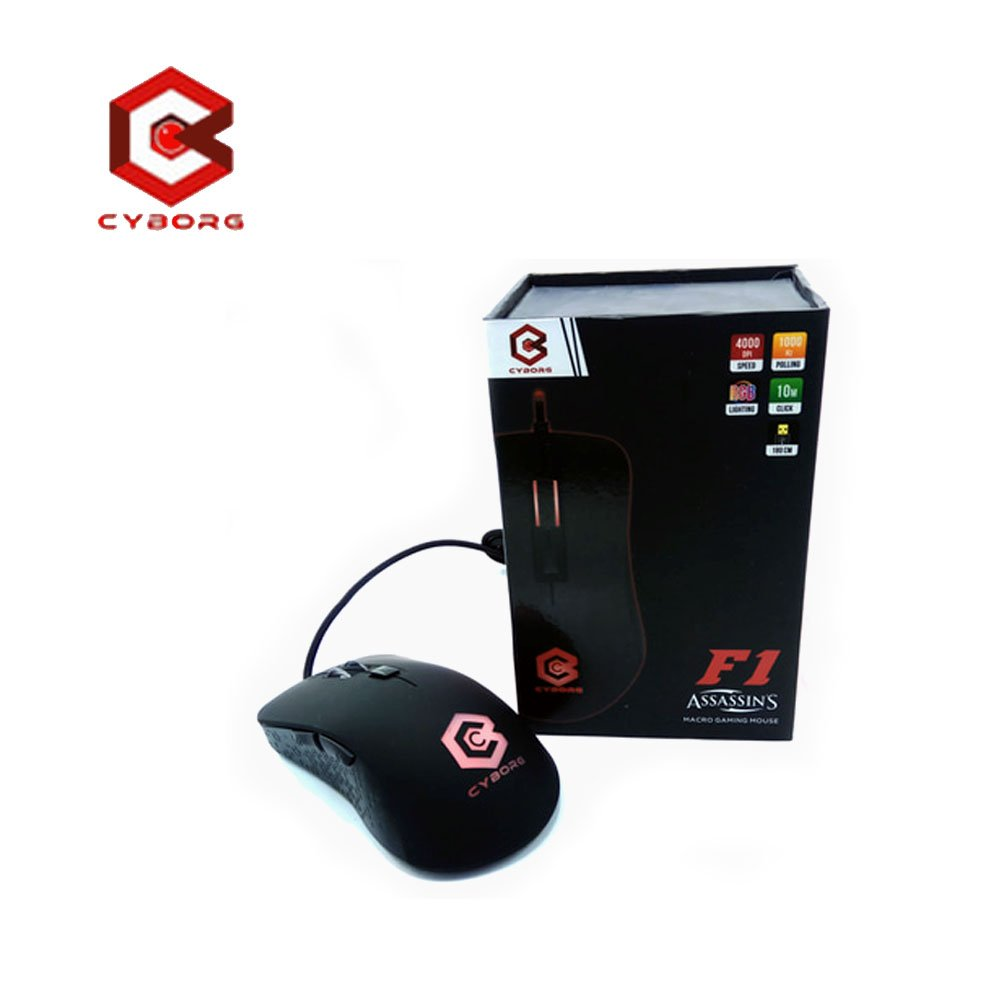Mouse Gaming Gear Dell Usb Branded Hitam Cyborg F1 Assassins Macro 6d